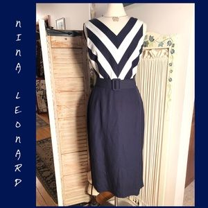 SZ 10-NINA LEONARD NAVY/WHITE CHEVRON LINEN DRESS